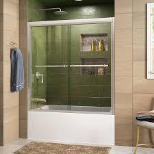 DreamLine Duet 59-in to 59-in W Frameless Brushed Nickel Sliding Shower Door