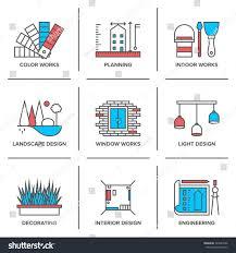 Icon For Interior Design Flat Line Icons Set Interior Design Signs Symbols