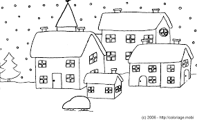 Coloriage Maisons Sous La Neige