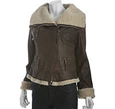 lyst michael kors brown distressed leather sherpa lined