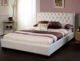 limelight 4ft 6 double aries white leather bed frame