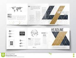 Set Of Tri Fold Brochures Square Design Templates Abstract