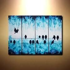 bird wall art canvas original turquoise canvas art birds on wire abstract contemporary four canvas wall on birds on wire canvas wall art with bird wall art canvas vegetablegardendesign fo
