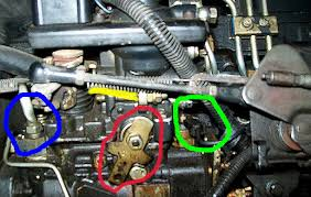 help unexplainable problem loss of power injector pump the green is your shut off solenoid mine has 2 wires going to it it would appear you only have one be check the wiring on it
