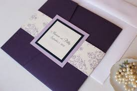 Wedding Invitation Folder Purple Pocket Fold Wedding Invitations Purple And Lavender