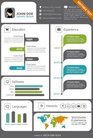 Visual Resume Beauteous Creative Visual Resume CV Vector Download