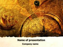 Ancient Map With Compass Presentation Template For