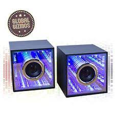 speakers light up. infinity mirror usb computer speakers 3+3w audio light up led twin wooden cube a