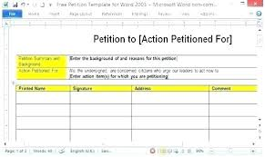 Template For Petition Blank Email Template To Print Petition Form Printable With Free Pics