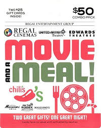 Brinker Regal Entertainment Movie A Meal Gift Cards