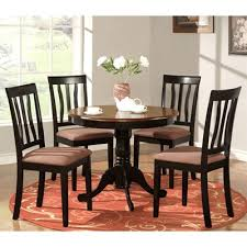 east west furniture anti antique round table dining set with microfiber upholstered seat chairs
