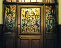 Fine Stained Glass Door Designs With Side Windows Floral Pattern Intended Ideas