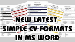 New Latest Cv Formats Cv Templates Curriculum Vitae Cv Format