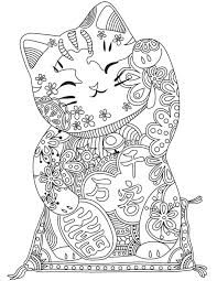 Fresh Japanese Cat Free Coloring Pages Download