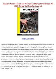 Nissan Patrol Technical Workshop Manual Downl by KarolinHastings - issuu