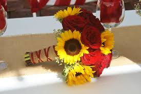 sunflowers and red roses in a bridal bouquet made at your local riverside ca flower