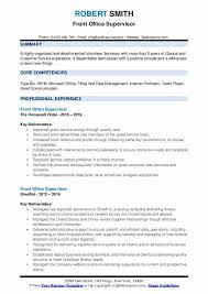 resume for front desk front office supervisor resume samples qwikresume