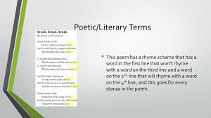 break break break by alfred lord tennyson ppt video online  8 poetic literary terms