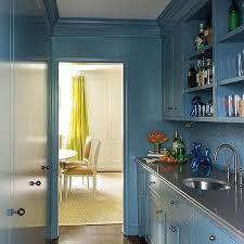 blue butlers pantry cabinets with gray quartz countertops