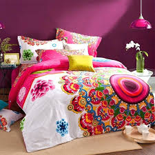 orange and green bedding sets retro girls bedroom with pink white orange bright colorful peacock bedding