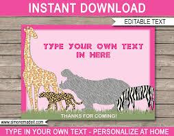 Girls Safari Theme Favor Tags Jungle Or Zoo Or Animal Safari Template
