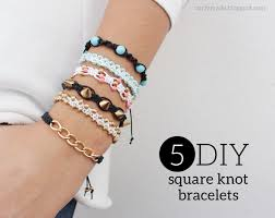 curly made diy 5 diffe square knot bracelets tutorial