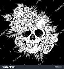 Skull Flowers Hand Drawn Illustration Tattoo Stock Vector Royalty