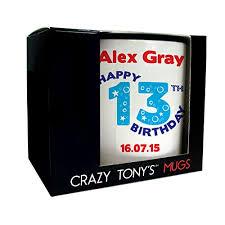 5 out of 5 stars. Personalised 13th Birthday Mug Crazy Tony S 13th Birthday Gift Gifts For Him Birthday Present Ideas Buy Online In El Salvador At Elsalvador Desertcart Com Productid 74134528