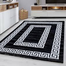 black and white rug modern border design mats small large room floor hall carpet