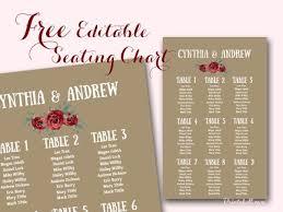 Editable Seating Chart Wedding Free Stylish Wedding Seating Chart Printable Seating Chart