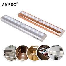 Battery Powered Lights For Gun Safes Anpro Aluminum Pir Led Motion Sensor Night Light 10 Led