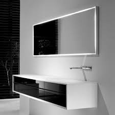 white solid wood floating bathroom cabinet with black sliding glass door under rectangle wall mirror with black and white bathroom furniture
