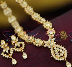 nl0128 full white american diamond necklace traditional indian jaipur design jewellery