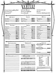 Vampire The Masquerade Revised Character And Traits