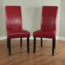 dining chairs faux leather. villa faux leather red dining chairs (set of 2)
