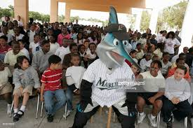 Billy Marlin mascot pushing at the FCAT pep rally at Lenora Smith... News  Photo - Getty Images