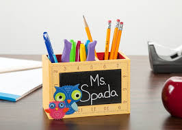 Chalkboard pencil holder with ruler border