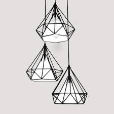 black pendant lighting. Antique Diamond Shape Black Metal Multi Pendant Light With 3 Lights - Unitarylighting Lighting