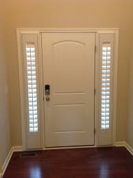 White Front Door With Slim Sidelights And Blind Treatment Decofurnish
