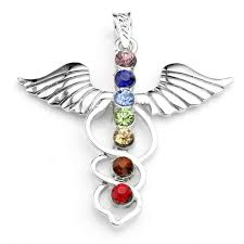 angel wing inlaid 7 crystal glass healing point chakra charm pendant diy gift