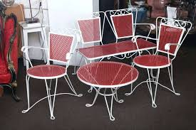 unique white and red wrought iron patio set consists of two matching chairs a 1950s furniture