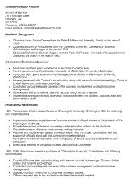 Sample Professor Resume Curriculum Vitae College Professor Professor Resume Example