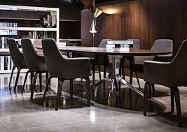 ... Interior Design Ideas With Minotti Dining Table Decoration Using Grey  Leather Dining Chair And Round Black Glass With Black Iron Tube Legs Dining  Table ...