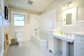 white subway tile shower with dark grout bathroom interior and craftsman walls built in mirror images