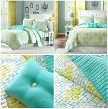 lime green duvet cover turquoise blue damask scroll bedding twin full queen comforter quilt set nz