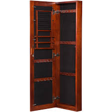 Wall Mount Cabinet With Lock Vista Wall Mount Jewelry Armoire Cherry Walmartcom