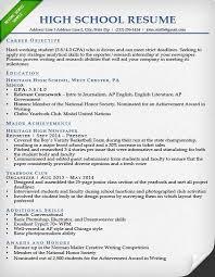 Sample Resume For High School Senior High School Sample Resume