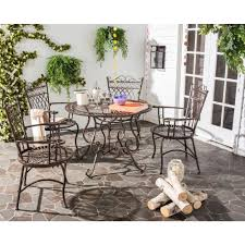 safavieh thessaly rustic brown 5 piece metal outdoor dining set