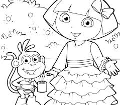 dora the explorer coloring pages free printable e on play colouring pdf