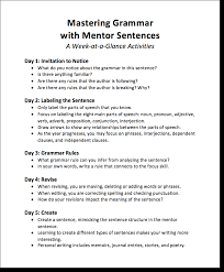 Mentor Sentence Anchor Chart Mastering Grammar With Mentor Sentences Part 2 Scholastic